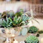 coupelle argent centre de table avec plante grasse dedans