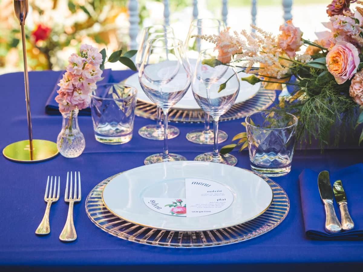 Mariage à Chantaco scénographié par Pastel Créatif - Dressage de la table