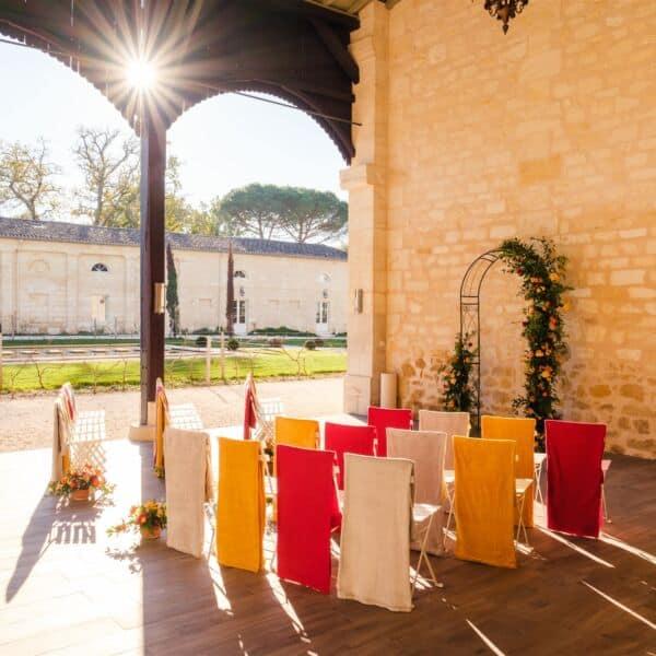 Décoration de mariage automne-hiver Château Gassies, Bordeaux