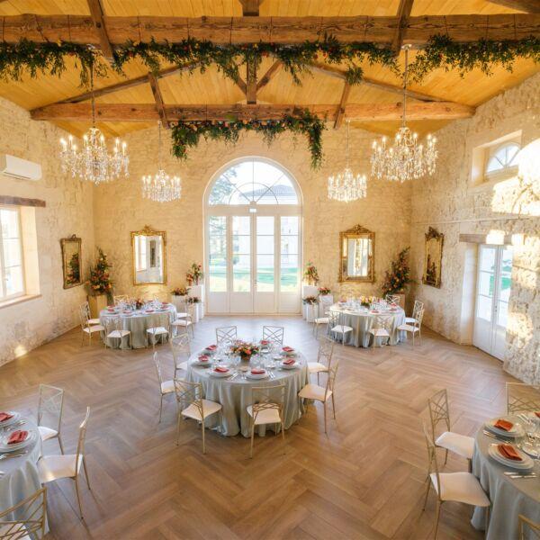 Décoration de mariage dans un Château en automne-hiver